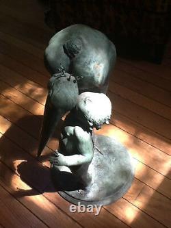 Carl Paul Jennewein Cast Bronze Sculpture Garçon Stork 25 1/2 Signé Cpj 1941