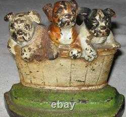 Cast Antique Fer Hubley Pa Chien Etats-unis Dans Le Panier Art Statue Sculpture Bookends Signe