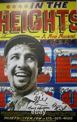 Dans Les Hauteurs Lin-manuel Miranda, Rare 24 Cast Signé Broadway Poster Hamilton