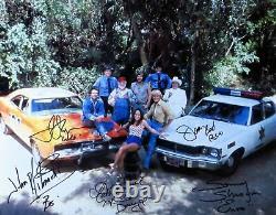 Dukes Of Hazzard Cast Signed Autographed 11x14 Photo Bach Wopat Schneider +2 Coa