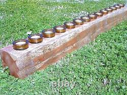 En Bois Quatorze Trous Sugar Mold Style Tronc D'arbre Candle Holder Complete Set