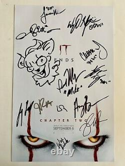 Encadré It Chapitre Deux Cast Signé X12 11x17 Poster Pennywise Sketch Beckett Loa
