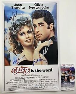 Grease Cast Signé Par Quatre Affiches 11x17 Autographiées Travolta, Randal Jsa Coa