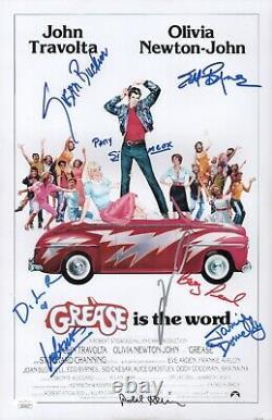 Grease John Travolta Cast X8 Signé 11x17 Photo Autographe Jsa Coa Cert