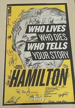 Hamilton Cast Signe 14x22 Carte Fenêtre Off-broadway Lin Manuel Miranda Coa