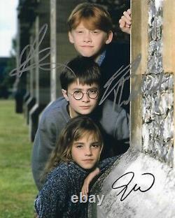 Harry Potter Cast Of 3 Autographié 8 X 10 Signé Photo Holo Coa