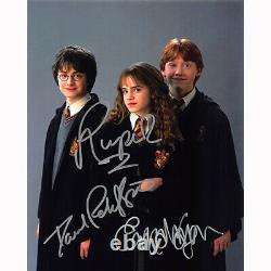 Harry Potter Cast Par 3 (74789) Autographié En Personne 8x10 Avec Coa