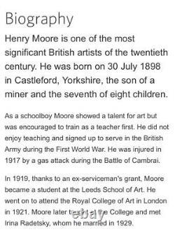 Henry Moore Sculpture Signé 1939 Cast À Froid Pleine Provenance Art Original