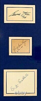 Humphrey Bogart Monumental Autographié Signé Casablanca Crédité Cast Encadré