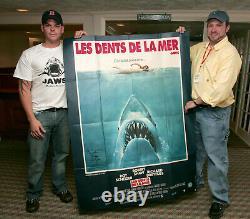 Jaws 1975 Affiche Originale Énorme Les Dents De La Mer Fonte Signé X9 Lee Fierro