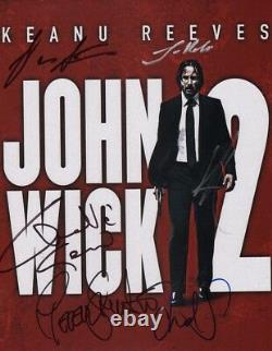 John Wick Chapitre 2 Cast(x6) Authentic Hand-signé Keanu Reeves 11x14 Photo
