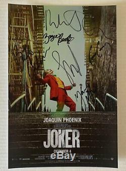 Joker 2019 Cast Signé Dédicacé 8x12 Photo Joaquin Phoenix Photo Coa