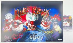 Killer Klowns De L'espace Extérieur 5x Cast Signé 12x18 Affiche Shorty Spikey Jsa