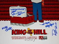 King Of The Hill Cast Signé X4 Autographié 12x18 Photo Affiche Mike Judge Adlon