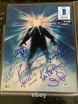 Kurt Russell Signed The Thing Cast Signé 11x14 John Carpenter Bas Coa Beckett +