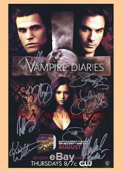La Main Agendas Vampire Cast Original Signe 11x17 Poster Sdcc Par 8 Dobrev Nina