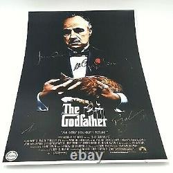 Le Parrain Cast Hand Signé Al Pacino +4 Autographié 11x17 Affiche De Cinéma Coa