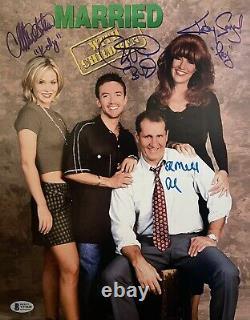 Marié Avec Des Enfants Cast Autograph Signé 11x14 Photo Sagal Ed O'neil Bas Coa