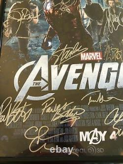 Marvel Avengers Affiche Autographiée 16 Membres Cast Rdj, Stan Lee, Evans Avec Cert