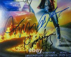 Michael J Fox Lloyd Zemekis Thompson Cast Signed'back To The Future' Affiche Jsa