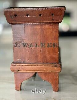 Moule À Chandelle En Bois Peint Antique, 24 Moules D'étain, Marquée J. Walker 1800's