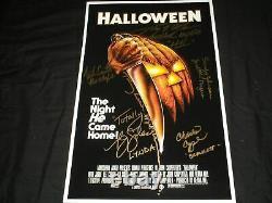 Nick Castle Tony Moran Pj Soles +++ Halloween Cast 6x Signé 11x17 Affiche De Cinéma