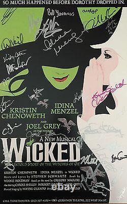 Original Cast Wicked Signe 14x22 Carte Fenêtre Kristin Chenoweth Menzel Idina Coa