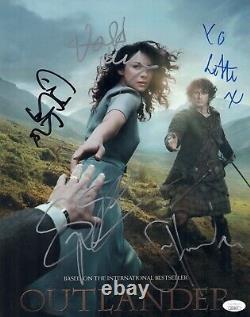 Outlander Sam Heughan Cast X5 Signé 11x14 Photo Autographe Jsa Coa Cert