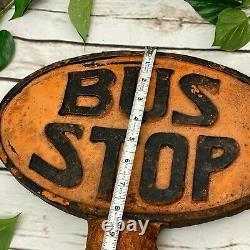 Panneau D'arrêt De Bus Ovale En Fonte Double Face Antique