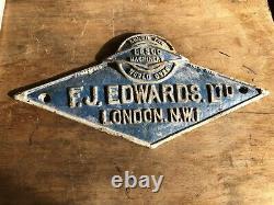 Panneau De Fonte Vintage Original F. J Edwards Ltd Londres Nw1