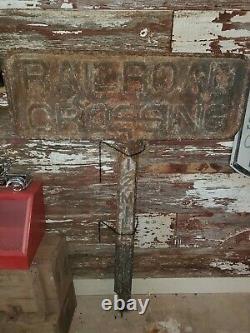 Rare Panneau Original De Traversée De Chemin De Fer De Fonte Antique