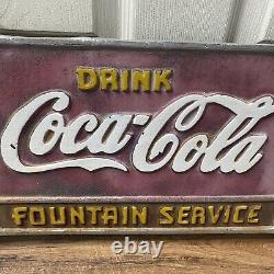 Rare Vintage 1930sbrink Coca Cola Fontaine Service Cast Iron Banc Plaque