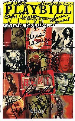 Rent Obc Original Broadway Cast Signed Playbill Idina Menzel Michael Grief Coa