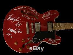 Retour Vers Le Futur Cast Signé Guitare Michael J Fox Rare Bas Auto Inscriptions