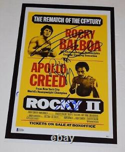 Rocky II 2 Cast Signé 11x17 Affiche Sylvester Stallone Shire Young Beckett Coa