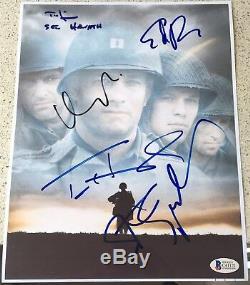 Sauver Le Soldat Ryan Hanks Spielberg 5x Complètesinterprètes Signe Autograph Affiche Bas