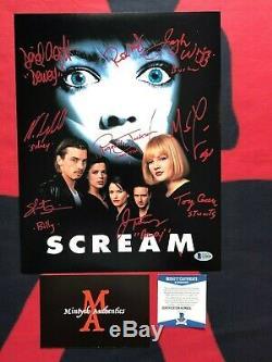 Scream Autographed Cast Signe 11x14 Photo Neve Campbell Skeet Ulrich 7 Beckett