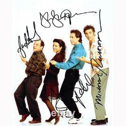 Seinfeld Cast Par 4 (73663) Autographié En Personne 8x10 Avec Coa