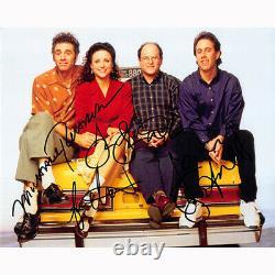 Seinfeld Cast Par 4 (73845) Autographié En Personne 8x10 Avec Coa