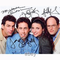 Seinfeld Cast Par 4 (79364) Autographié En Personne 8x10 Avec Coa