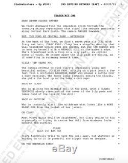 Shadowhunters Signés Par 4 Pilote Script Cast Avec Beckett Bas Coa