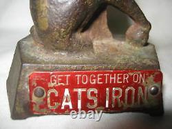Signe Antique Fonte Etats-unis Chaton D'art Publicité Statue Paperweight
