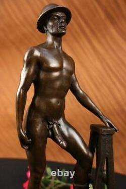 Signé Original Hot Cast Ouvrier Gay Thème Bronze Sculpture Statue
