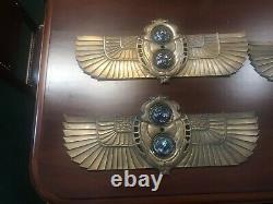 Signé Paire De Tiffany Cast Bronze Egyptian Revival Elevator Indicateurs #6451