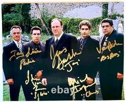 Sopranos Photo Cast Signé Par James Gandolfini Tony Sirico Steven Van Zandt Coa