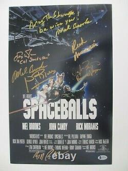 Spaceballs Cast Signé 11x17 Photo Mel Brooks Rick Moranis Beckett Lettre Bas