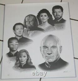 Star Trek Nouvelle Génération Cast Autographié 20x24 Art Print Jsa Authentifié