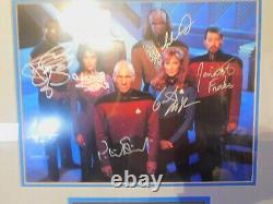 Star Trek Nouvelle Génération Edition Limitée Signé Plaque Murale 7 Cast 7 Signatures