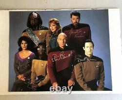 Star Trek Tng 12x12 The Next Generation Cast Original Hand Autographed Photo