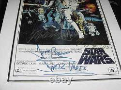 Star Wars A Signé L'affiche De Film Automatique Par 8 Encadré Mark Hamillharrison Fordg. Lucas